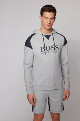 Hooded loungewear sweatshirt in cotton with contrast inserts, Light Grey