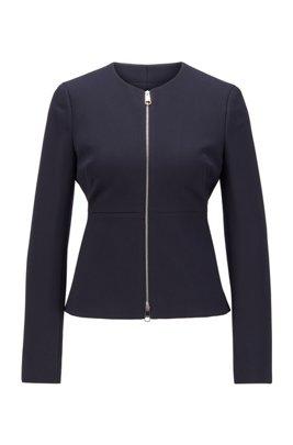 Giacca regular fit con zip integrale in twill di jersey elasticizzato, Celeste