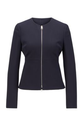 Zip-through regular-fit jacket in stretch-jersey twill, Light Blue