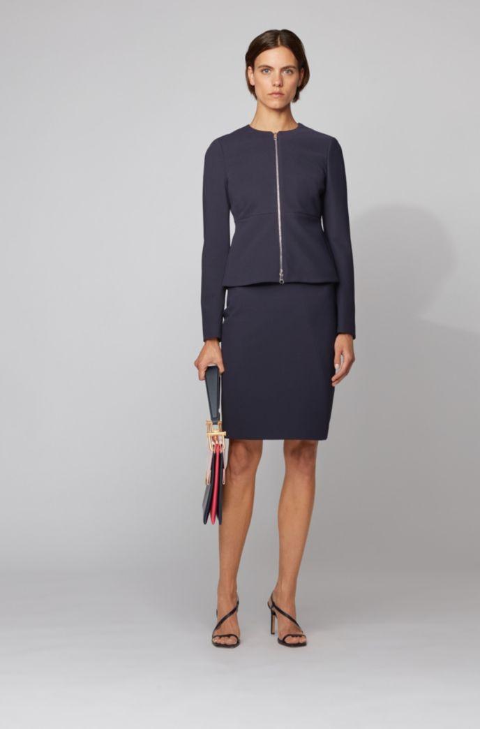 Zip-through regular-fit jacket in stretch-jersey twill