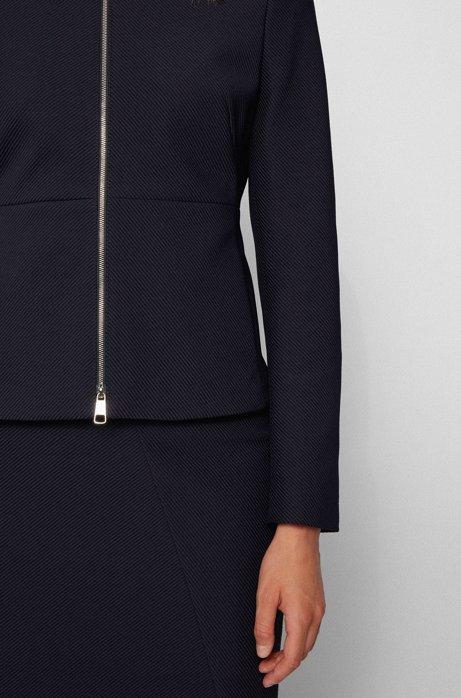 Zip-through regular-fit jacket in stretch-jersey twill, Light Blue