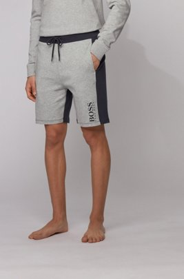 Logo loungewear shorts in interlock cotton with contrast inserts, Light Grey