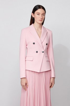 Double-breasted regular-fit jacket in structured jersey, Light Purple