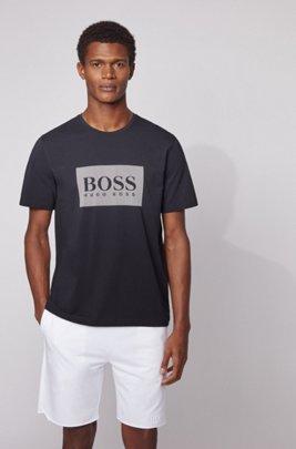 Loungewear-T-Shirt aus Stretch-Baumwolle mit kontrastfarbenem Logo, Hellblau