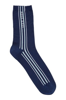 Vertical-striped socks in a mercerised cotton blend, Light Blue