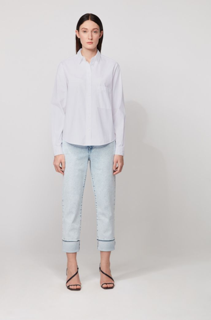 Relaxed-fit blouse in washed cotton poplin