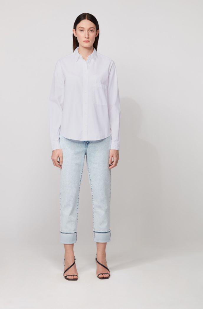 Relaxed-fit blouse in een popeline van gewassen katoen
