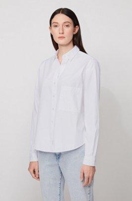 Camicetta relaxed fit in popeline di cotone effetto lavato, Bianco