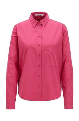 Relaxed-fit blouse in washed cotton poplin, Pink