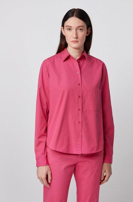 Relaxed-fit blouse in een popeline van gewassen katoen, Pink