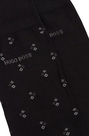 男士棉质混纺中长袜两双装,  001_黑色