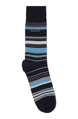 Multi-coloured striped socks in a mercerised cotton blend, Dark Blue