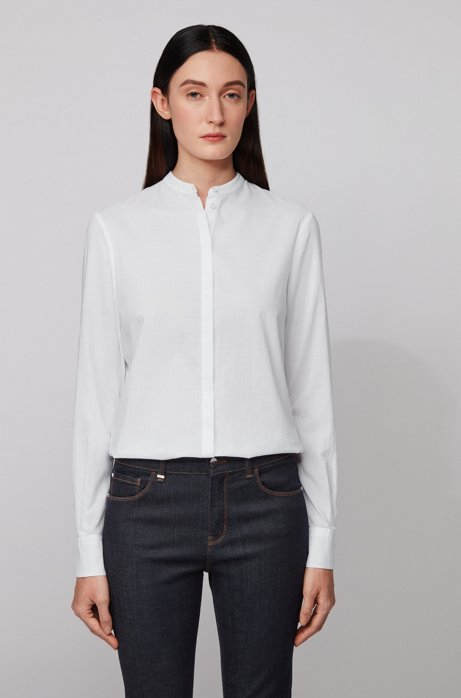 Relaxed-fit blouse in fil-à-fil chambray, Wit