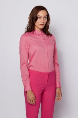 Relaxed-fit blouse in fil-à-fil chambray, Pink