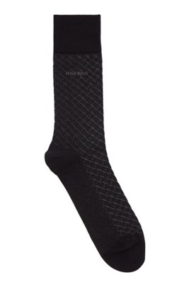 Micro-patterned socks in mercerised stretch cotton, Black