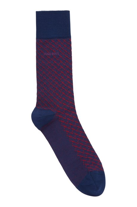 Micro-patterned socks in mercerised stretch cotton, Light Blue