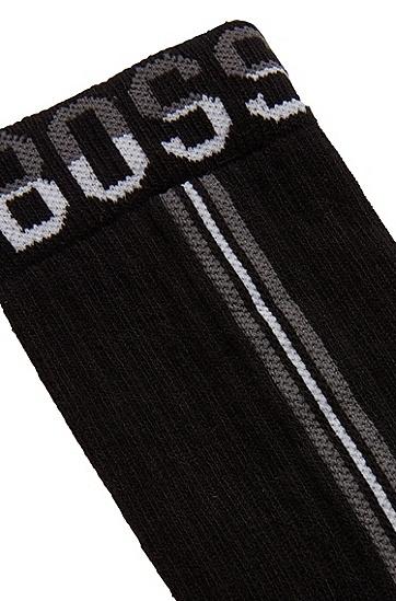 男士竖条纹棉混纺短袜,  001_黑色