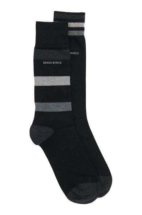 Zweier-Pack mittelhohe Socken mit Streifen-Dessins, Schwarz