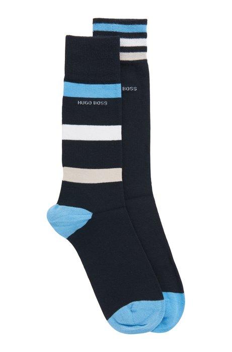 Two-pack of regular-length socks with stripes, Dark Blue