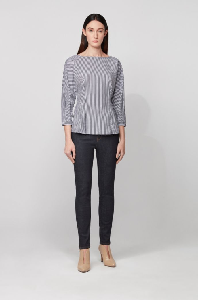 Collarless blouse in a stretch-cotton blend with stripes