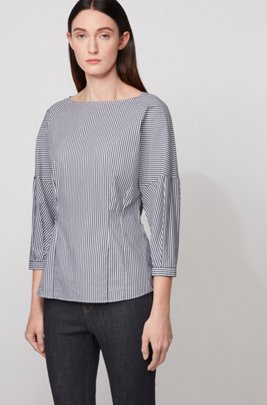 Collarless blouse in a stretch-cotton blend with stripes, Dark Blue