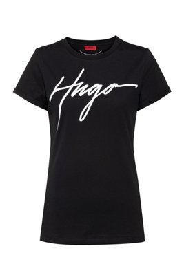 Cotton jersey T-shirt with handwritten-logo print, Black