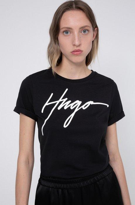 Camiseta de punto de algodón con logo estampado manuscrito, Negro