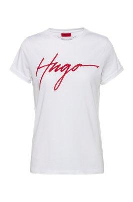 T-shirt van katoenen jersey met handgeschreven logoprint, Wit