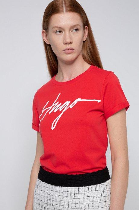 T-shirt van katoenen jersey met handgeschreven logoprint, Rood