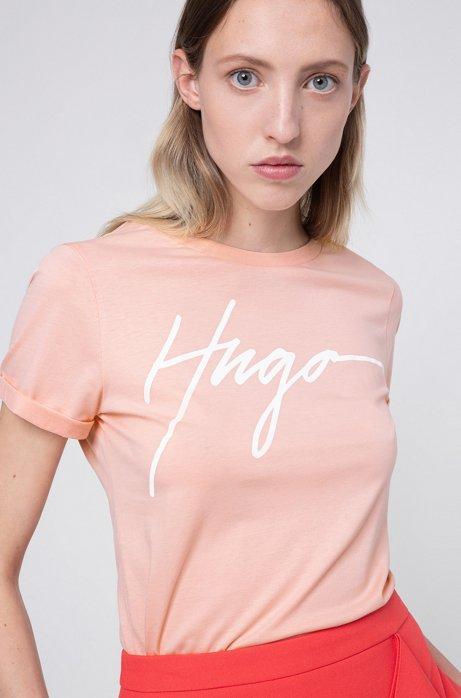 Cotton jersey T-shirt with handwritten-logo print, Light Red