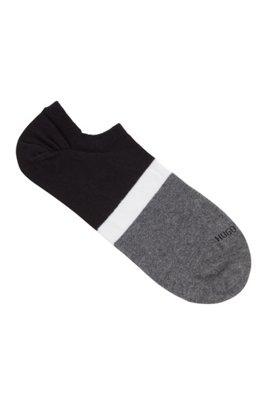 Chaussettes invisibles à rayures color block, Noir