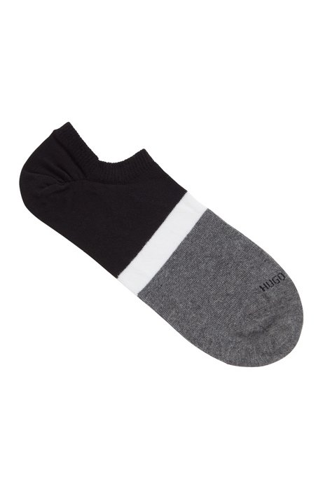 Invisible socks with colour-block stripes, Black