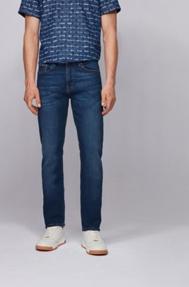 Jeans slim fit in denim indaco super-elasticizzato, Blu scuro