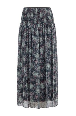 Printed maxi skirt in pure-silk chiffon, Patterned
