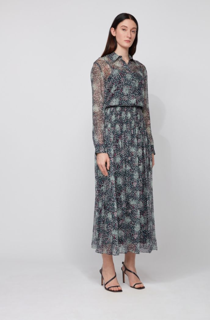 Printed maxi skirt in pure-silk chiffon