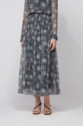 Printed maxi skirt in pure-silk chiffon, パターン