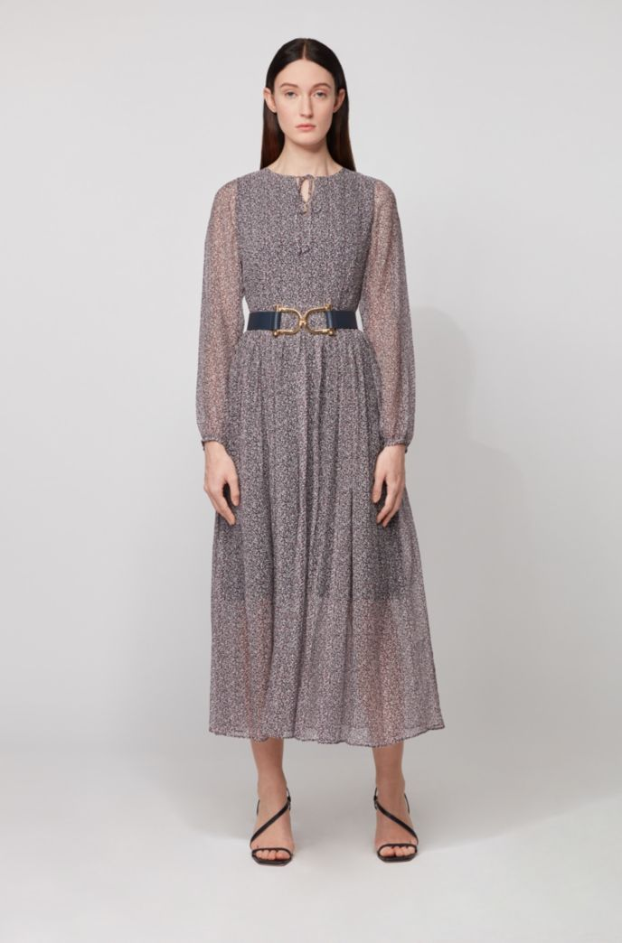 Long-sleeved maxi dress in ditsy dot-print crepe