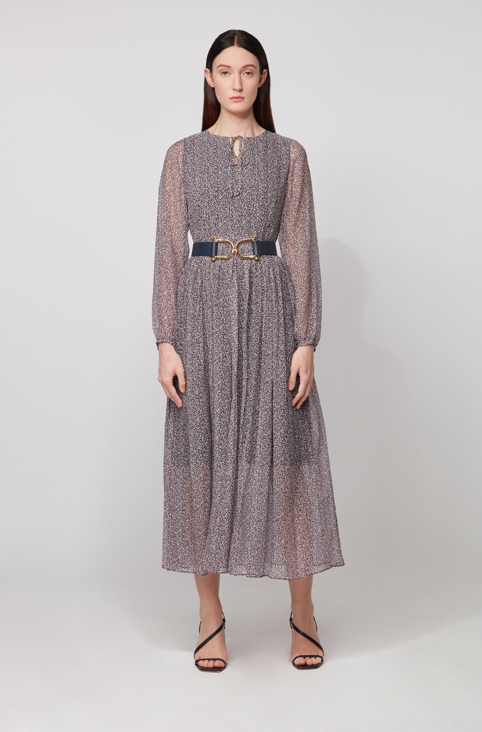 Long-sleeved maxi dress in ditsy dot-print crepe