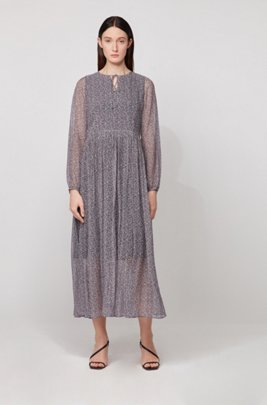 Long-sleeved maxi dress in ditsy dot-print crepe, Patterned
