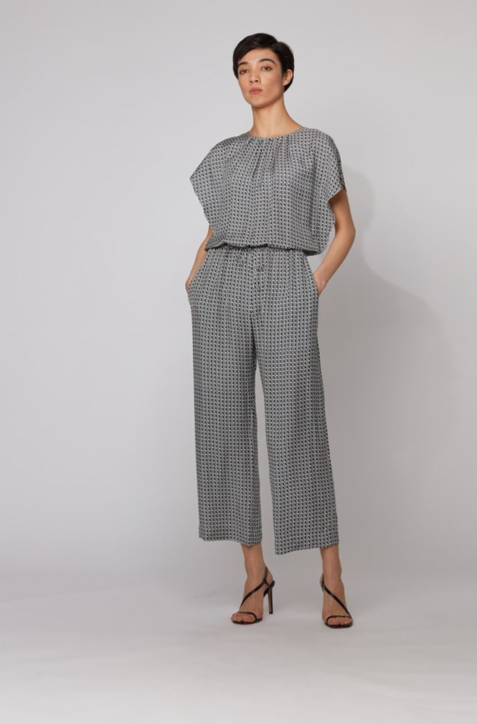 Geometric-print jumpsuit with drawstring waist