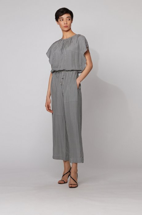 Geometric-print jumpsuit with drawstring waist, Patterned