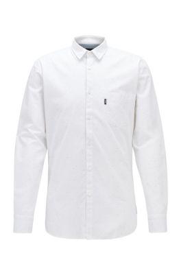 Slim-Fit Hemd aus strukturierter Stretch-Baumwolle, Weiß