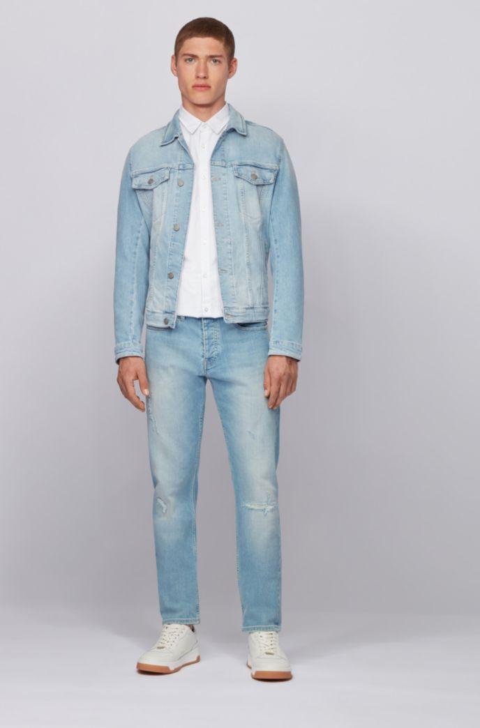 Camisa slim fit de algodón elástico de hilo flameado