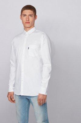 Camisa slim fit de algodón elástico de hilo flameado, Blanco