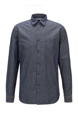 Camisa slim fit de algodón elástico de hilo flameado, Azul oscuro