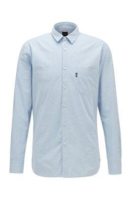 Slim-Fit Hemd aus strukturierter Stretch-Baumwolle, Hellblau