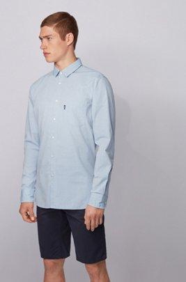 Chemise Slim Fit en coton stretch flammé, bleu clair