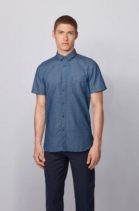 Slim-Fit Kurzarm-Hemd mit Print in Denim-Optik, Dunkelblau
