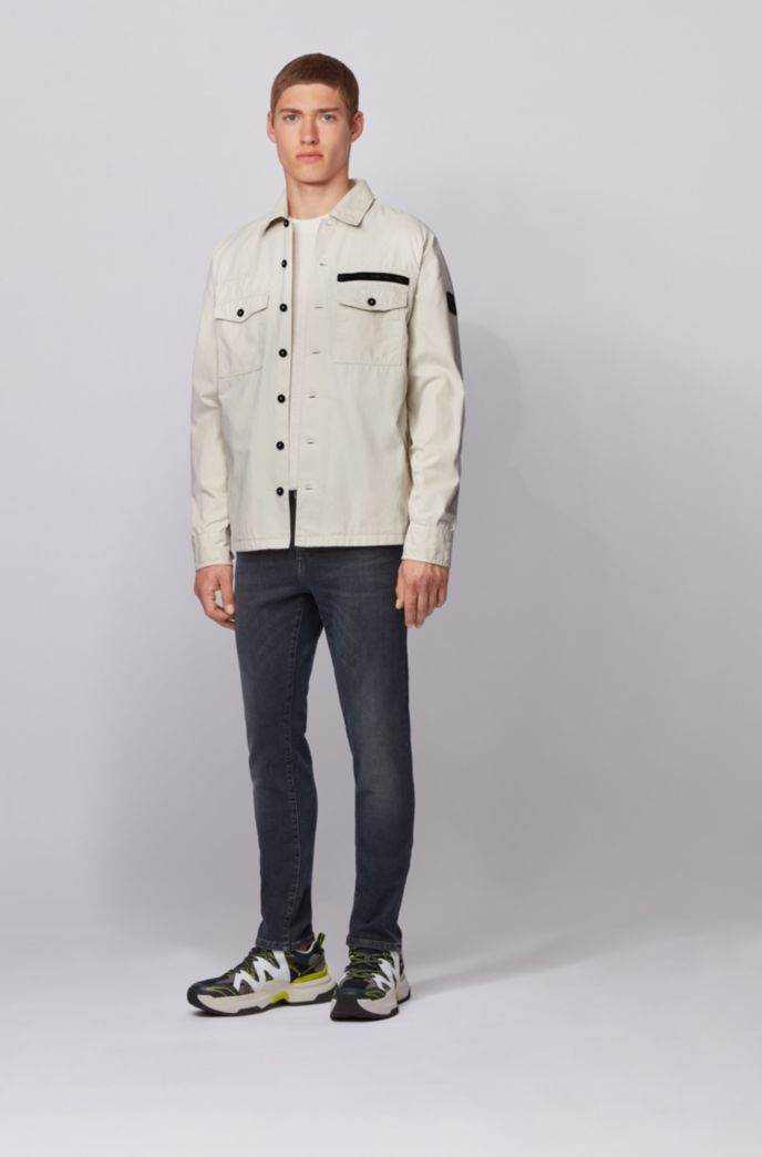 Oversized-fit overshirt in garment-washed cotton twill