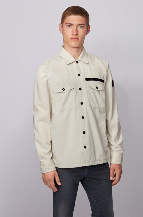 Oversized-fit overshirt in garment-washed cotton twill, Light Beige